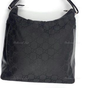 Authentic Guci Monogram Hobo Shoulder Bag Black